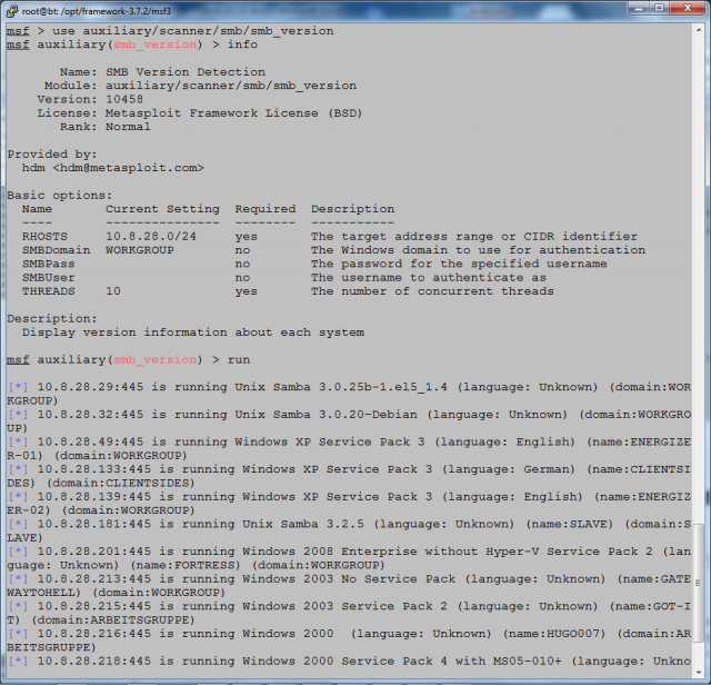 Abb. 3-8 Metasploit - SMB-Version-Scanner