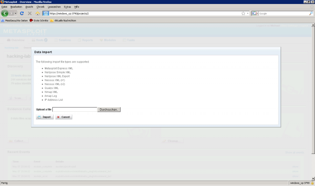 Metasploit Express beta - db_import