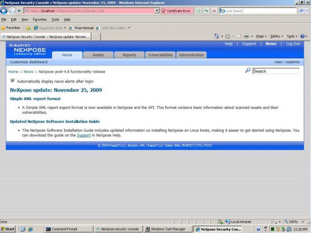 Erster Start von NeXpose auf Windows Server 2003 - 05