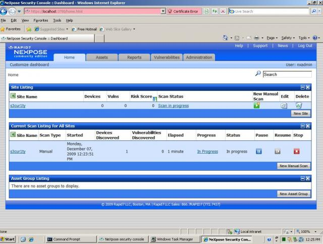 Erster Start von NeXpose auf Windows Server 2003 - 06