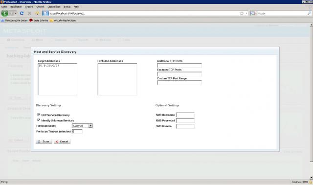 Metasploit Express beta - Discovery Process 01