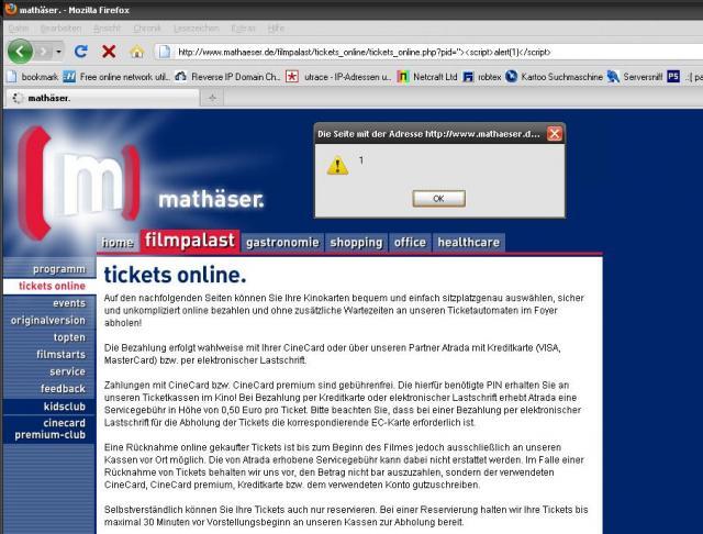 XSS in mathaeser website