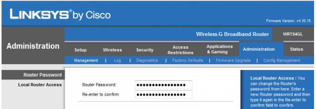 Linksys-WRT54GL - missing password request