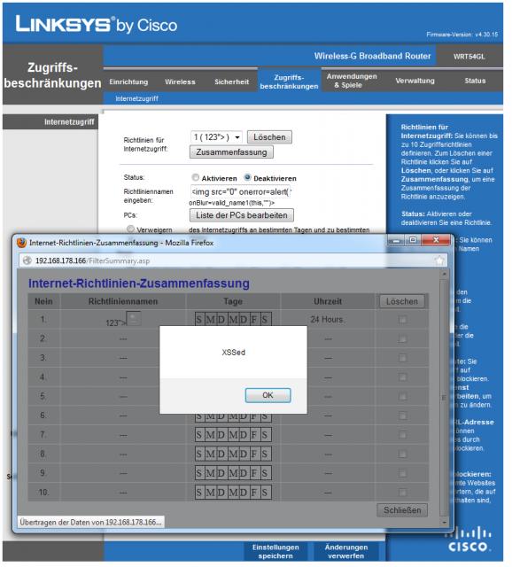 Linksys-WRT54GL - stored XSS