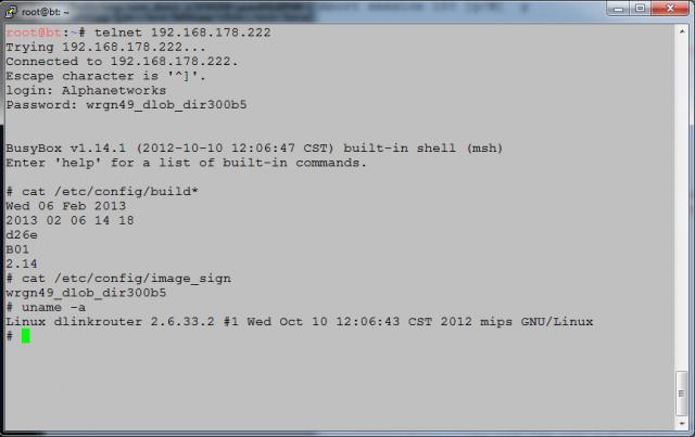 D-Link Telnet access